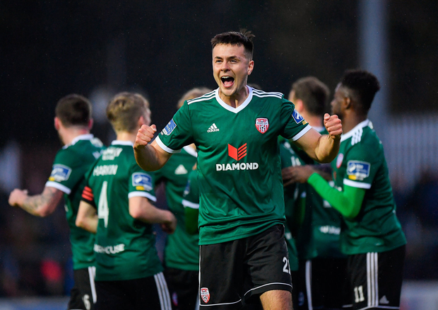 Josh Kerr of Derry City celebrates following his side's second goal. Photo: Sportsfile