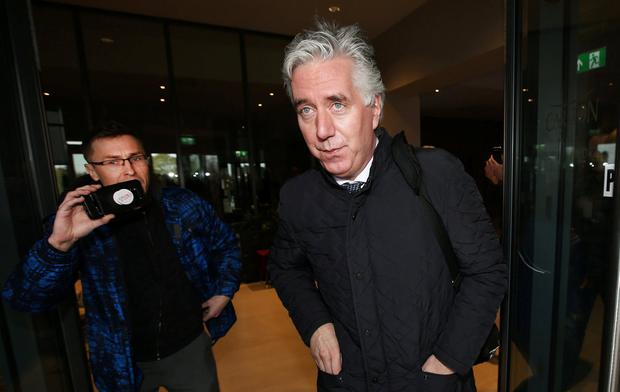 John Delaney pictured leaving the Carlton Hotel near Dublin Airport following a meeting with the FAI. Photo: Steve Humphreys