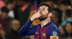 Soccer Football - Champions League Quarter Final Second Leg - FC Barcelona v Manchester United - Camp Nou, Barcelona, Spain - April 16, 2019 Barcelona's Lionel Messi celebrates scoring their first goal. REUTERS/Sergio Perez