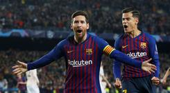 Soccer Football - Champions League Quarter Final Second Leg - FC Barcelona v Manchester United - Camp Nou, Barcelona, Spain - April 16, 2019 Barcelona's Lionel Messi celebrates scoring their first goal with Philippe Coutinho Action Images via Reuters/Carl Recine