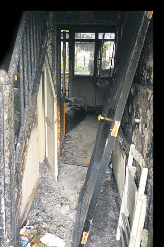 Aftermath of the arson attack