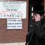 A sign warning people of measles in the ultra-Orthodox Jewish community of Williamsburg in New York City earlier this week