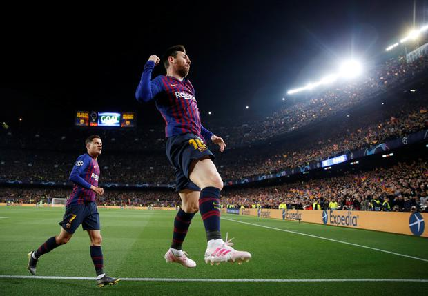 Messi celebrates his first goal of the night at the Nou Camp. Photo: Action Images via Reuters/Carl Recine