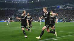 Matthijs de Ligt celebrates after scoring the winner for Ajax. Photo: REUTERS/Alberto Lingria