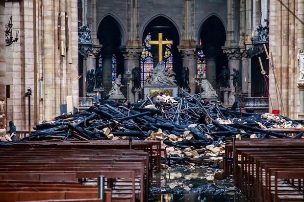 Devastation: the damage inside the cathedral. Picture: AP