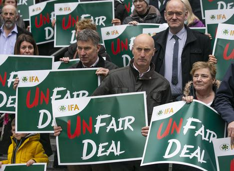 Taking a stand: The IFA stages a Fair Deal protest at the Department of Health in Baggot Street, Dublin