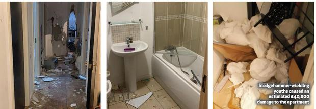 A luxury riverside apartment has been totally trashed by a gang of sledgehammer-wielding youths