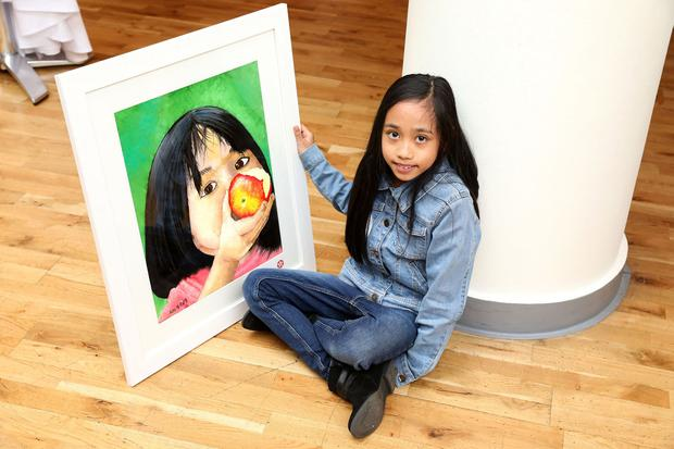 16th April 2019. Texaco Children's Art competition. In Category D (9-11 years), first prize (€250) was won by 10-year old Amihan Navarro, a pupil at Guardian Angels' National School, Blackrock, Co. Dublin, for a work entitled 'Little Me'. Pic. Mac Innes Photography