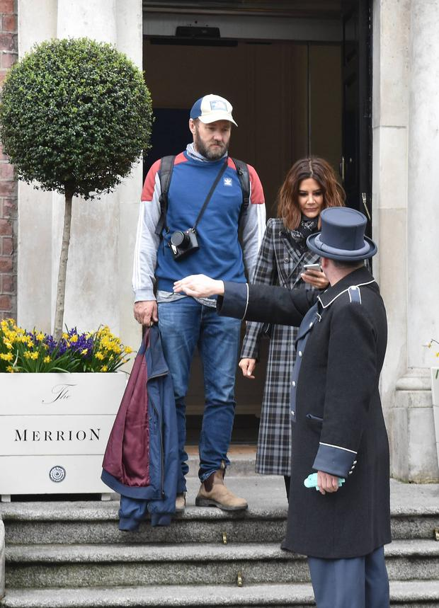 Hollywood actor Joel Edgerton and Vogue editor girlfriend Christine Centenera seen leaving The Merrion Hotel