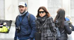 Hollywood actor Joel Edgerton and Vogue editor girlfriend Christine Centenera seen leaving The Merrion Hotel and visting the Book of Kells in Trinity College