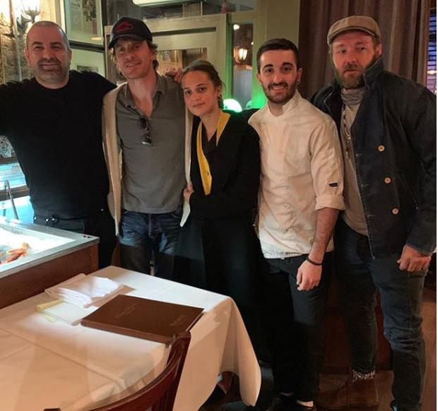 Joel Edgerton with Michael Fassbender and Alicia Vikander with employees at Rosa Madre in Temple Bar. Picture: Instagram