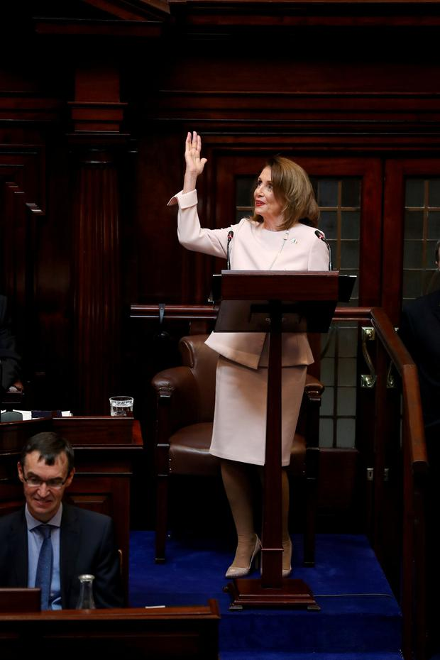 U.S. House Speaker Nancy Pelosi speaks at Leinster House in Dublin, Ireland April 17, 2019. Irish Government Pool/Maxwells/Handout via REUTERS