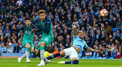 MANCHESTER, ENGLAND - APRIL 17: Son Heung-min of Tottenham Hotspur scores a goal to make it 1-2 during the UEFA Champions League Quarter Final second leg match between Manchester City and Tottenham Hotspur at at Etihad Stadium on April 17, 2019 in Manchester, England. (Photo by Robbie Jay Barratt - AMA/Getty Images)