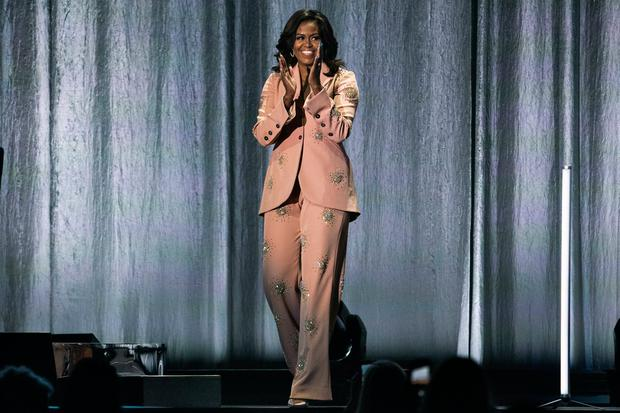 It's evidence that this Easter-appropriate palette works just as well in fanciful gowns as in smart tailoring, such as the peachy Stine Goya suit Michelle Obama wore on her book tour last week. AP photo
