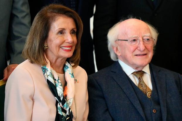 Flying visit: US House Speaker Nancy Pelosi with President Michael D Higgins at Áras an Uachtaráin, Dublin, as part of her four-day visit. Photo: Brian Lawless/PA Wire