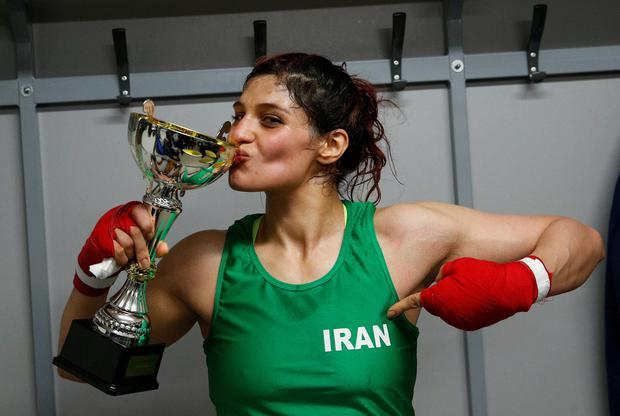 Sadaf Khadem made history with her fight on Saturday. Photo: Reuters