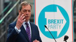 Nigel Farage, whose new Brexit Party has opened up a five-point lead in the next month's elections to the European Parliament, according to a new opinion poll. Photo: Joe Giddens/PA