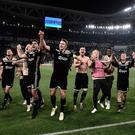 Ajax players celebrate after their stunning victory in Turin. Photo: AFP/Getty Images