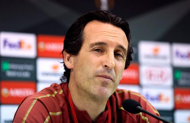 Arsenal manager Unai Emery answers questions at a press conference at the San Paolo Stadium, Naples. Photo: Steven Paston/PA Wire