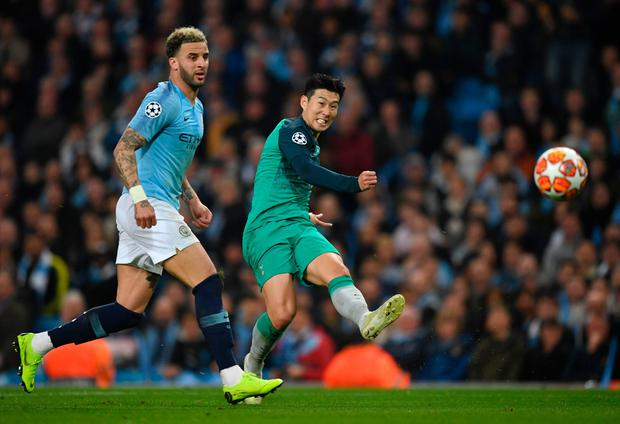 Tottenham's Son Heung-min shoots at the Manchester City goal. Photo: Shaun Botterill/Getty Images
