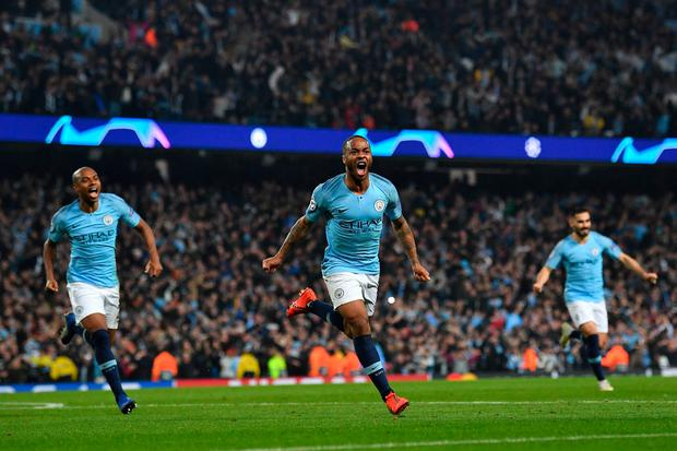 Raheem Sterling celebrates before his injury-time goal is disallowed for offside. Photo: AFP/Getty Images
