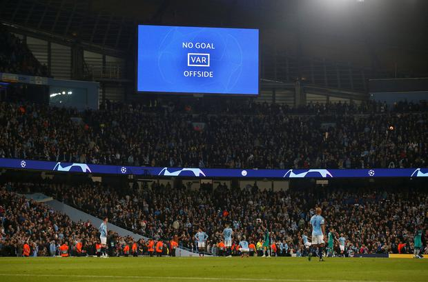 General view as an incident is reviewed on VAR leading to Manchester City's Raheem Sterling goal being disallowed. Photo: REUTERS/Andrew Yates