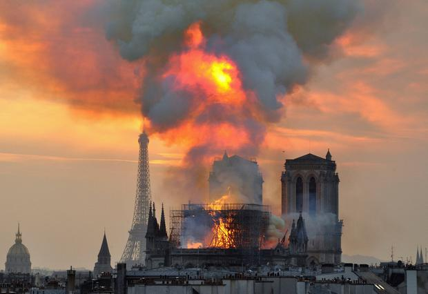 Painful image: The fire on Monday is the worst destructive force Notre-Dame Cathedral has suffered in its history. AP Photo/Thierry Mallet