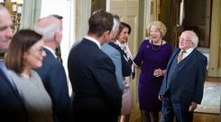 President Michael D.Higgins and his wife Sabina who hosted US speaker of the house Nancy Pelosi and US Congressional delegation at Áras an Uachtaráin. Photo: Mark Condren