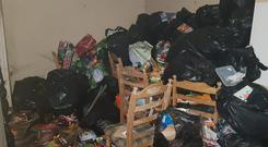 Floor to ceiling rubbish: One of the rooms ruined by tenants