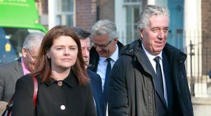 Key figures: John Delaney and the FAI's interim CEO Rea Walshe arrive at Leinster House last week. Frank McGrath