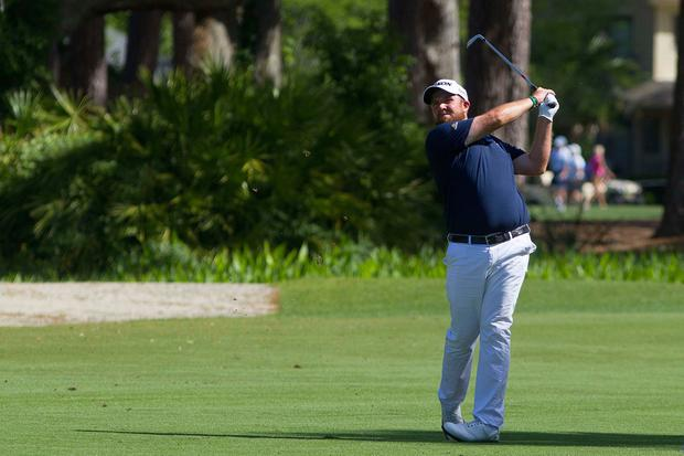 Shane Lowry hits his approach to the third hole on a day to remember at the RBC Heritage. Photo: USA TODAY Sports