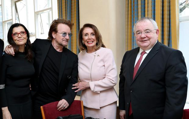 Bono and his wife Ali with Nancy Pelosi and Ceann Comhairle Seán Ó Fearghaíl in Leinster House. Photo: MAXWELLPHOTOGRAPHY.IE