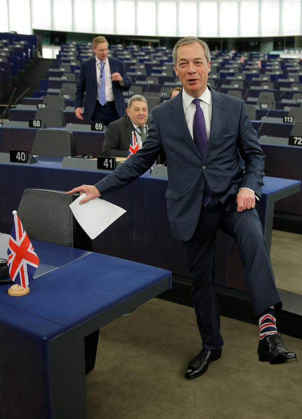 Leading the polls: Brexit campaigner Nigel Farage arrives to attend a debate at the European Parliament in Strasbourg. Photo: Vincent Kessler/Reuters