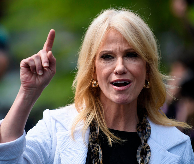 Kellyanne Conway, Trump's close adviser, defends the president to the media. Photo: BRENDAN SMIALOWSKI/AFP/Getty Images