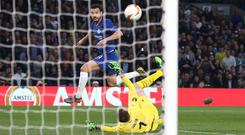 Pedro of Chelsea scores their 1st goal during the UEFA Europa League Quarter Final Second Leg match between Chelsea and Slavia Praha at Stamford Bridge (Photo by Charlotte Wilson/Offside/Getty Images)