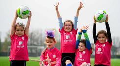 Participants at the Aviva Soccer Sisters camp in Ringsend yesterday are (l-r) Sally O'Halloran (aged 6), Shauna Joyce (8), Sarah McGilligan (8), Penny Roche (7) and Keris Uzell (7). Photo: Stephen McCarthy/Sportsfile