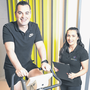 Pedal power: Personal trainer Karl Henry with Rebecca McGrath of GenoFit. Photo: Conor McCabe