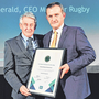 Munster CEO Garrett Fitzgerald (right) is honoured with the Outstanding Contribution Award by Federation of Irish Sport chairman Roddy Guiney. Photo by Sam Barnes/Sportsfile