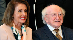 Nancy Pelosi with President Michael D Higgins at Áras an Uachtaráin, Dublin. Photo: Brian Lawless/PA Wire