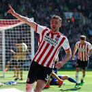 Sheffield United's Enda Stevens celebrates scoring his side's second goal of the game during the Sky Bet Championship match at Bramall Lane, Sheffield.