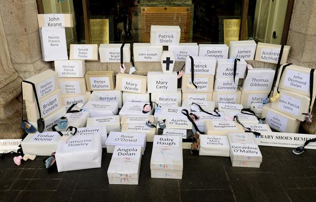 Boxes represent coffins with babies' names in memory of those that died at the Tuam home. Picture: Caroline Quinn