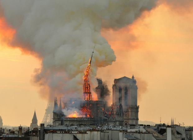 'There was much genuine grief that the Notre-Dame edifice, with all its powerful symbolism, was under assault from some elemental force.' AP Photo/Thierry Mallet