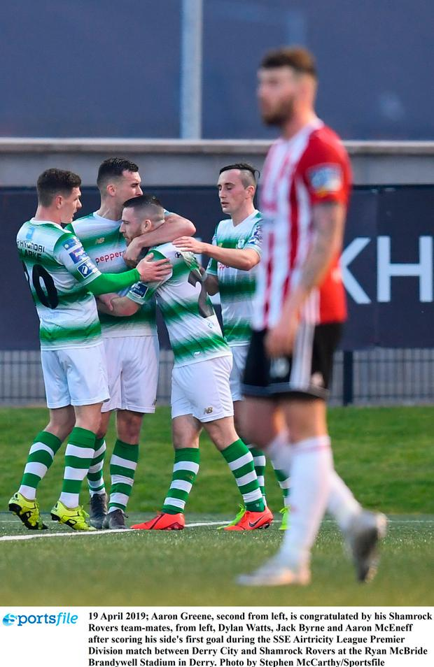 Aaron Greene, second from left, is congratulated by his Shamrock Rovers team-mates, from left, Dylan Watts, Jack Byrne and Aaron McEneff after scoring his side's first goal during the SSE Airtricity League Premier Division match between Derry City and Shamrock Rovers at the Ryan McBride Brandywell Stadium in Derry. Photo by Stephen McCarthy/Sportsfile