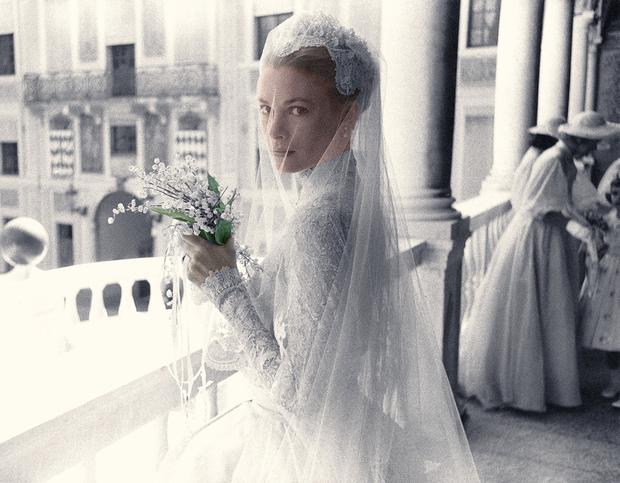 Grace Kelly on the day of her wedding to Prince Rainier