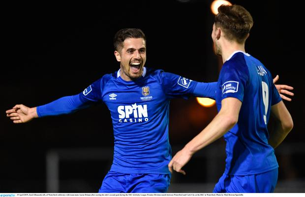 Zack Elbouzedi, left, of Waterford celebrates with team-mate Aaron Drinan after scoring his side's second goal during the SSE Airtricity League Premier Division match between Waterford and Cork City at the RSC in Waterford. Photo by Matt Browne/Sportsfile
