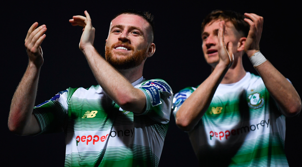 Jack Byrne (left) and Ronan Finn celebrate after Shamrock Rovers earned victory over Derry City. Photo: Sportsfile