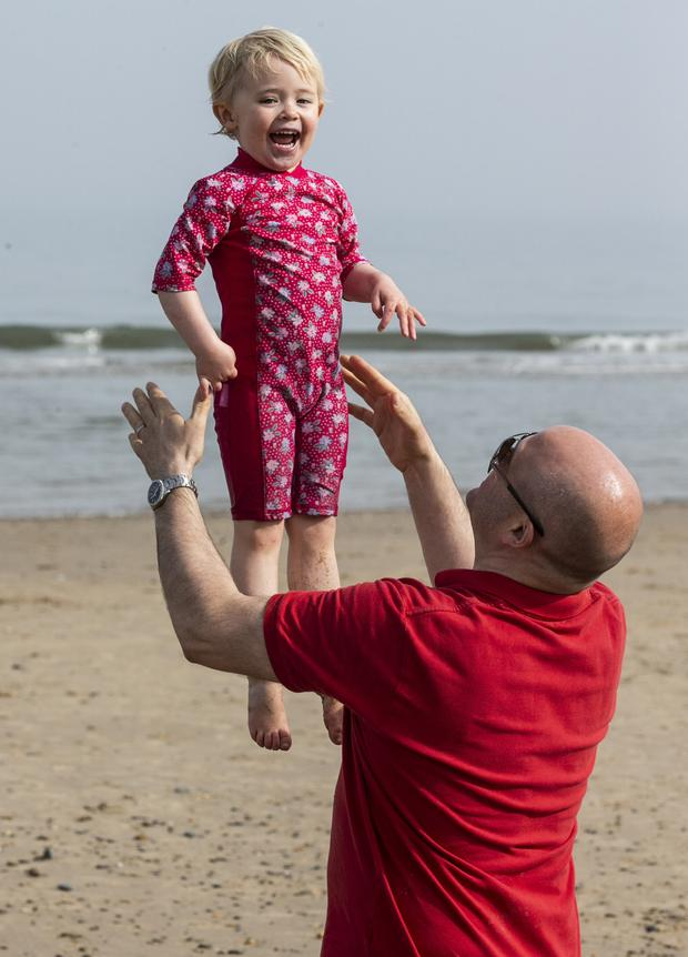 Loving the sun: Kenna Synnott (2), from Wicklow, at Brittas Bay. Picture: Kyran O'Brien