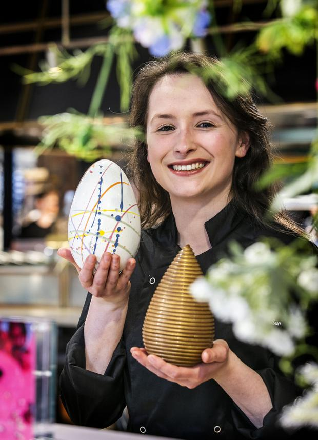 The 'joy of chocolate making': Maria Maher from Cocoa Atelier with some of her Easter Eggs in Dollard & Co in Temple Bar. Picture: Kyran O'Brien