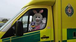 The Easter bunny delivering eggs to children in hospital Photo: Facebook/Cork Children's Easter Egg Appeal
