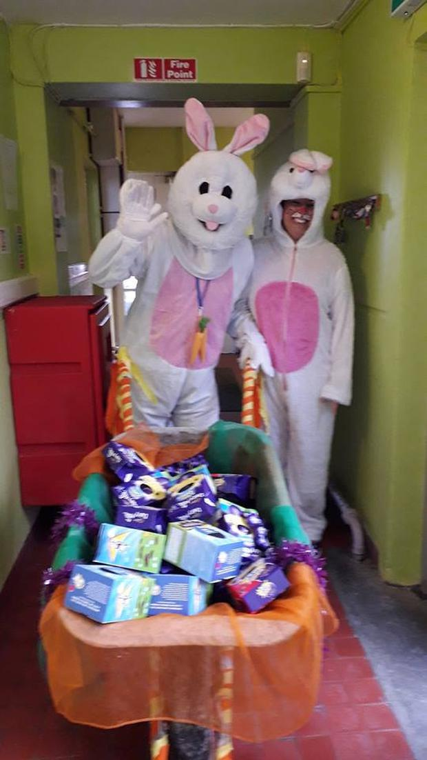 The Easter bunny delivers chocolate to hospital Photo: Facebook/Cork Children's Easter Egg Appeal